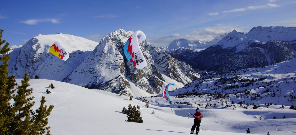 Snowkiting Uphill With Blue Sky Jpg
